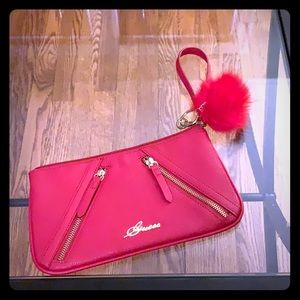 Guess red wristlet with pouf keychain 🥰